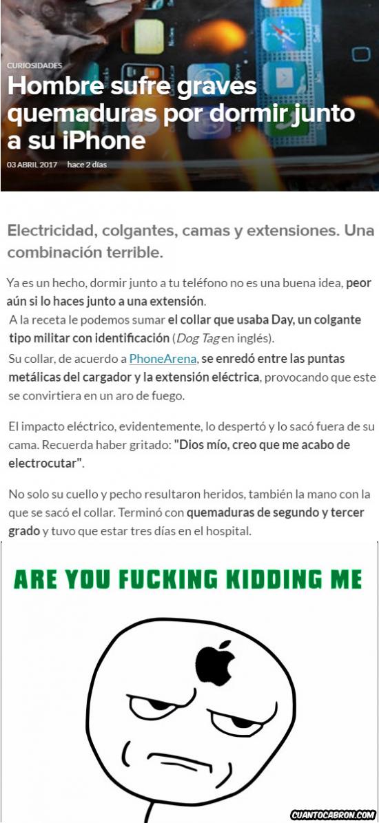 Kidding_me - El tremendo problema de un usuario con un iPhone y quemaduras