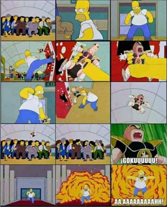 Meme_otros - Cuando Krilin hizo su aparición en Los Simpson