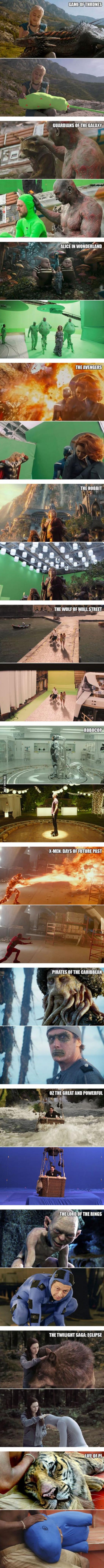 Meme_otros - Escenas de películas antes y después de los efectos especiales
