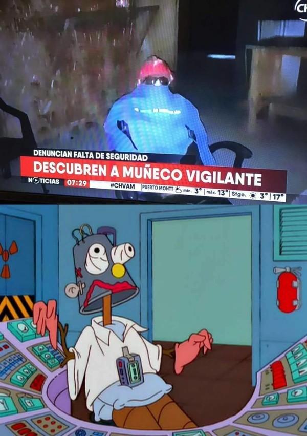 Meme_otros - Los Simpson ya predijeron el vigilante en forma de muñeco en el trabajo
