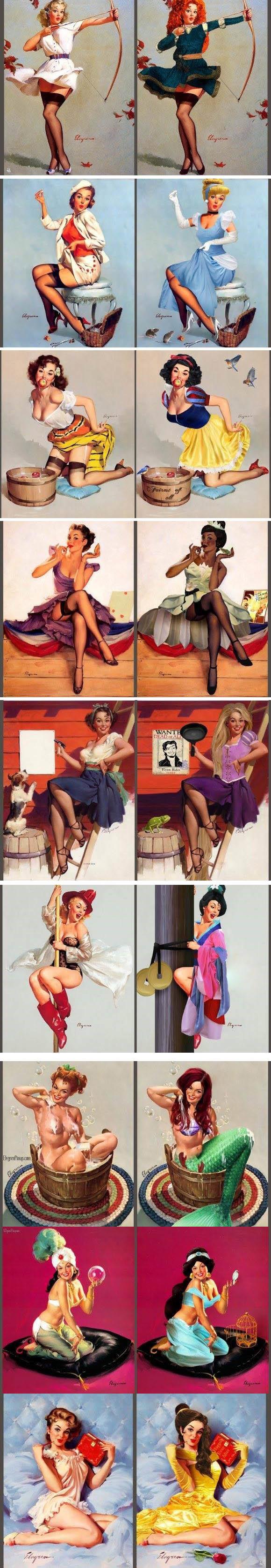 Meme_otros - Este artista convirtió a modelos pin-up en princesas Disney y el resultado es TOP