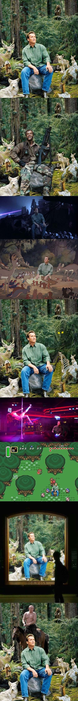 Meme_otros - Arnold se convierte en carne de montajes al posar en este bosque con animales