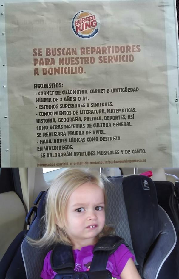 Meme_otros - El cartel más WTF jamás visto sobre los requisitos necesarios en el Burger King
