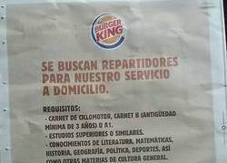 Enlace a El cartel más WTF jamás visto sobre los requisitos necesarios en el Burger King