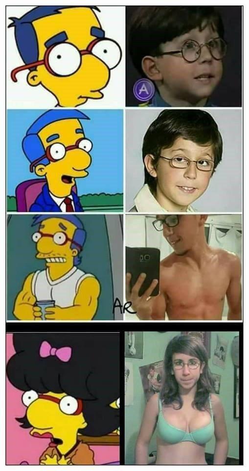Meme_otros - La evolución de Milhouse en la vida real