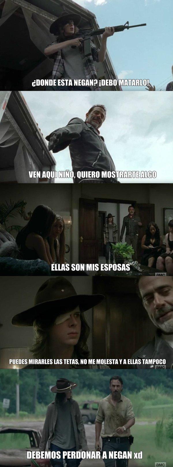 Me_gusta - La razón de porque Carl quiere perdonar a Negan