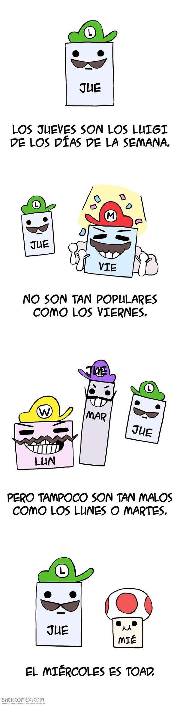 Meme_otros - Los días de la semana explicados con personajes de Nintendo