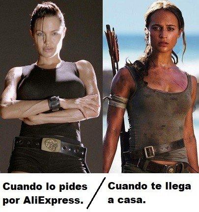 Meme_otros - Dos grandes diferencias a destacar entre otras de estas dos Lara Croft del cine