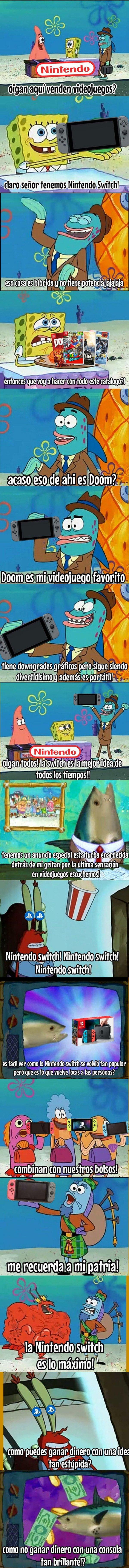 Meme_otros - Bob Esponja anunciando la revolucionaria Nintendo Switch
