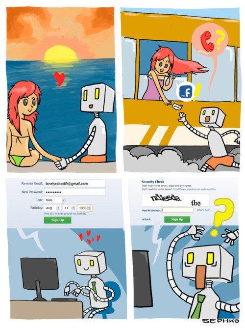 Otros - No es fácil encontrar el amor para un robot en Facebook