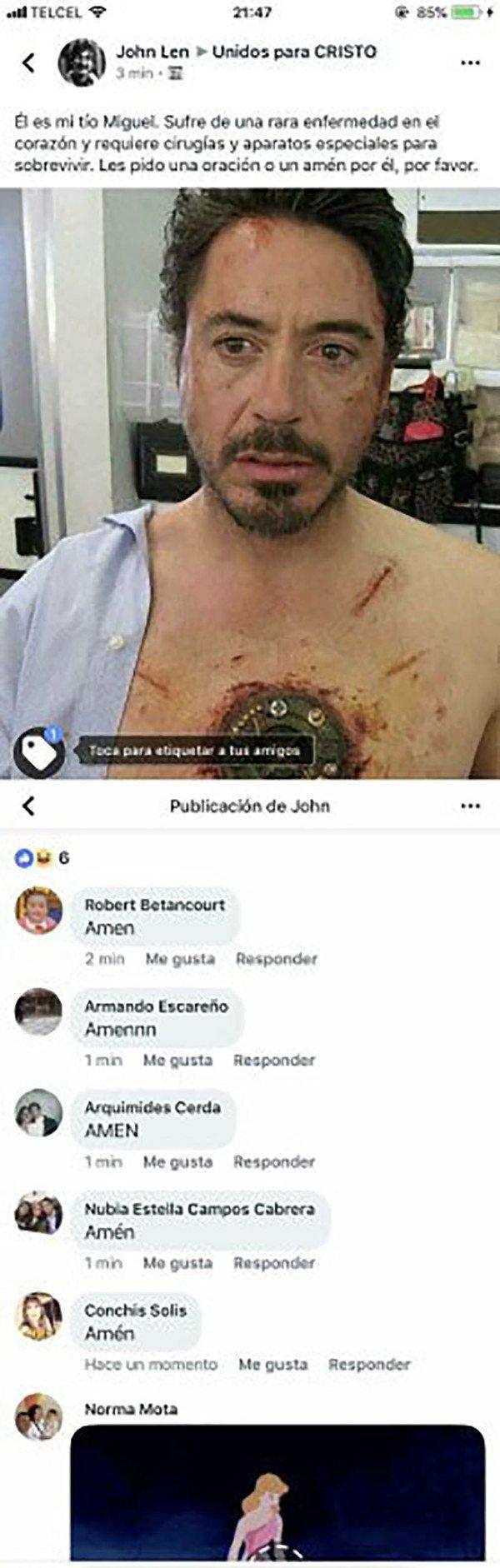 Meme_otros - Publican esta foto de Tony Stark en Facebook y los comentarios son para partirse de risa