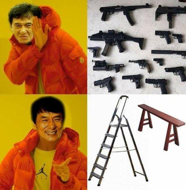 Meme_otros - Jackie Chan sabe las mejores armas para usar