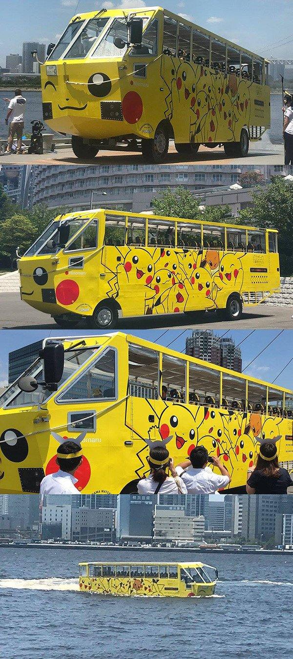 Meme_otros - El bus de Pokémon ha empezado a operar en Japón. ¡También sirve como transporte acuático!
