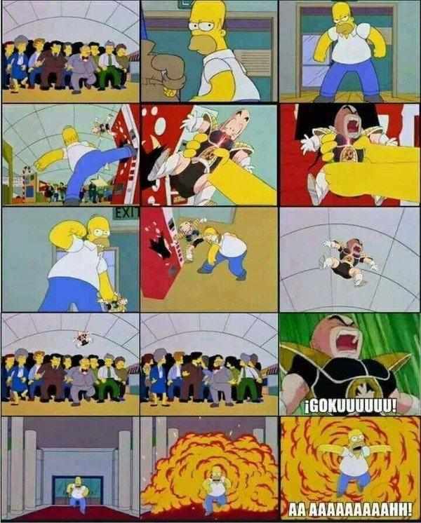 Meme_otros - El crossover más épico de la historia fue cuando Dragon Ball apareció en Los Simpson