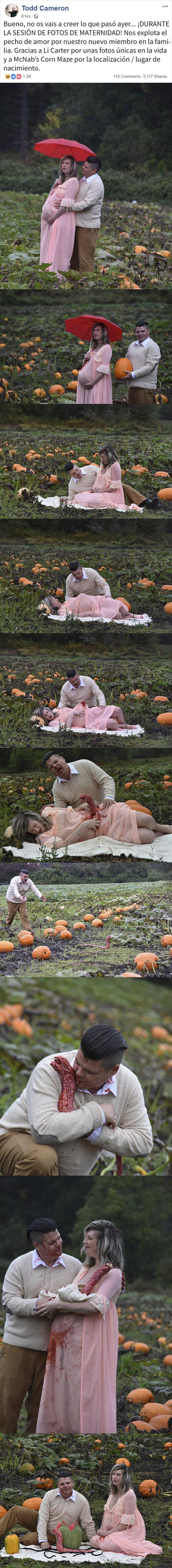 Meme_otros - Esta pareja de embarazados parecía disfrutar de una agradable comida el campo hasta que sucedió al