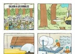 Enlace a Protestando contra la tala de árboles