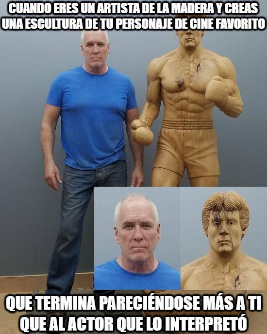 Meme_otros - No me quedó claro si es Stallone haciendo de Rocky o del artista haciendo de Rocky...