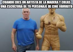 Enlace a No me quedó claro si es Stallone haciendo de Rocky o del artista haciendo de Rocky...