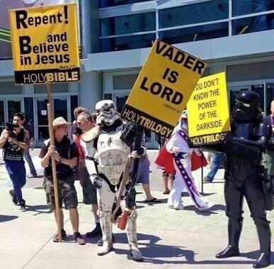 biblia,cristo,jesus,lado oscuro,manifestacion,religiosa,stormtrooper,vader