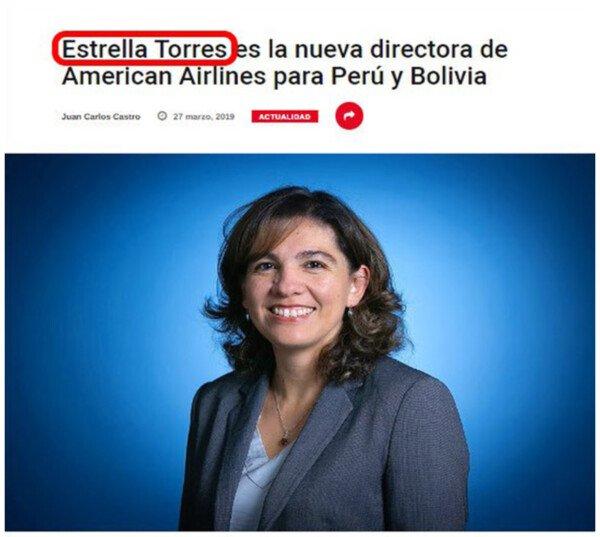 Otros - Estrella Torres, un nombre poco esperanzador para una directora de compañía aérea
