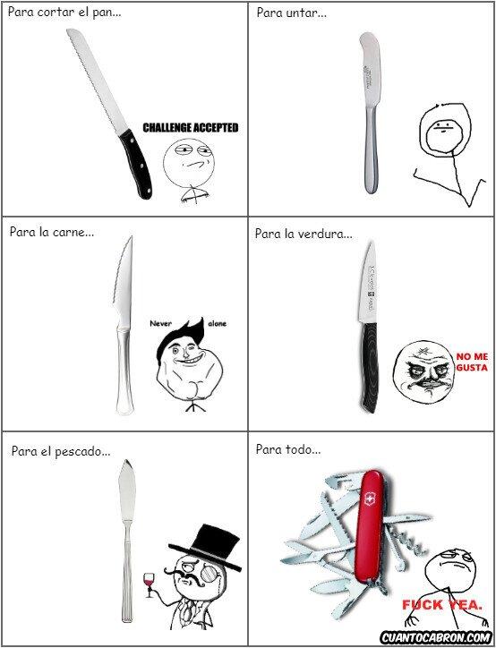 Otros - Tipos de cuchillos y su rage comics...