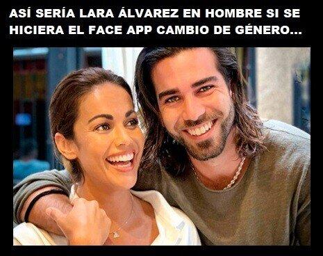 Meme_otros - Son dos gotas de agua Lara Álvarez y su hermano, ni el Face app lo haría mejor...