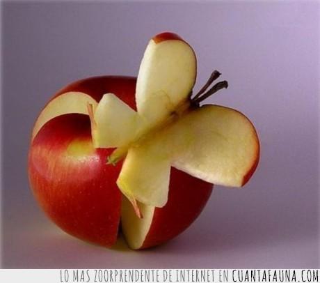 arte,cortar,manzana,mariposa,pelar