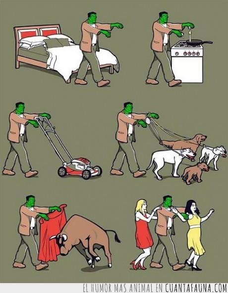 cocina,frankestein,mujeres,perro,polivalente,toro,trabajo
