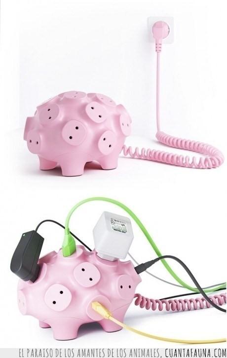 cables,cerdo,enchufe,hucha
