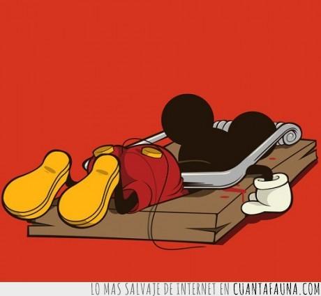 atrapado,micky mouse,morir,ratón,ratonera
