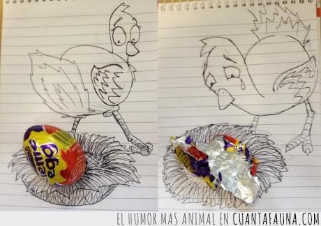 chocolate,dibujo,gallina,huevo,imaginación,talento