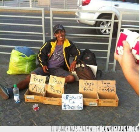 comida,homeless,perro,pobre,porro,sinceridad,vagabundos,vino