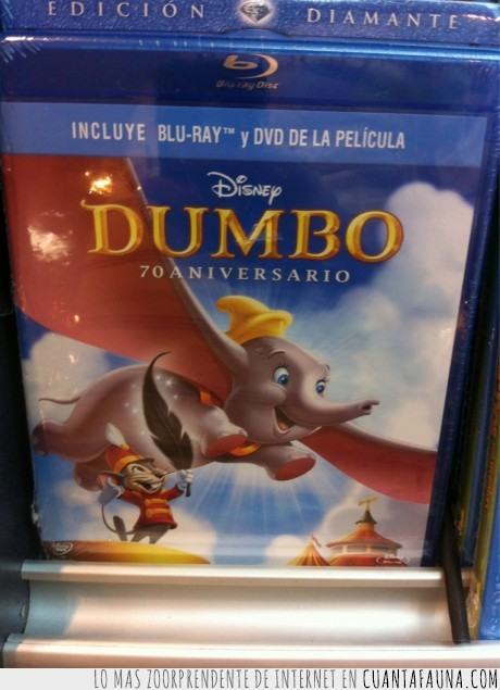 Blu-ray,Disney,Dumbo,orejas,pluma,Portada,raton,Soy,vuela,Yo