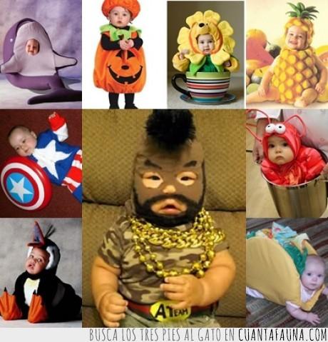 bebe,calabaza,capitan america,cosplay,disfraz,equipo a,gamba,ma,piña,pinguino,taco