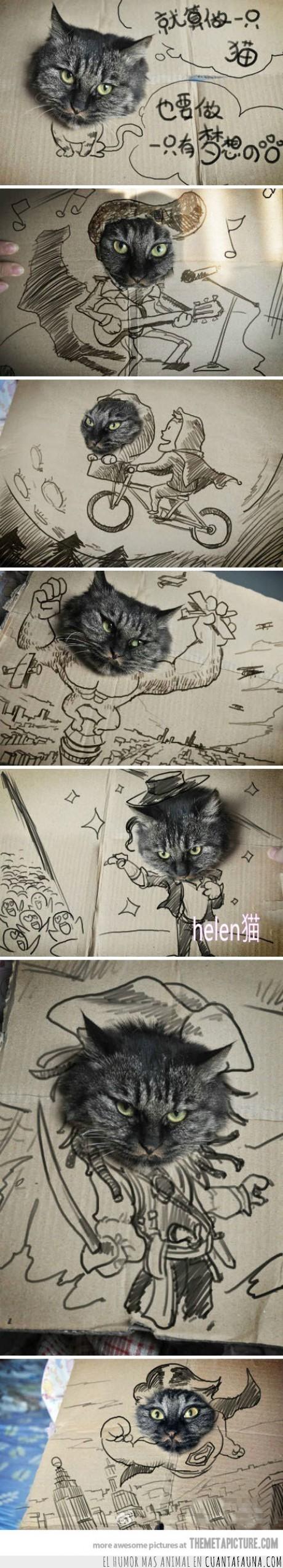 cara,carton,dibujar,dibujo,gato,heroe,meter,profesiones,volar