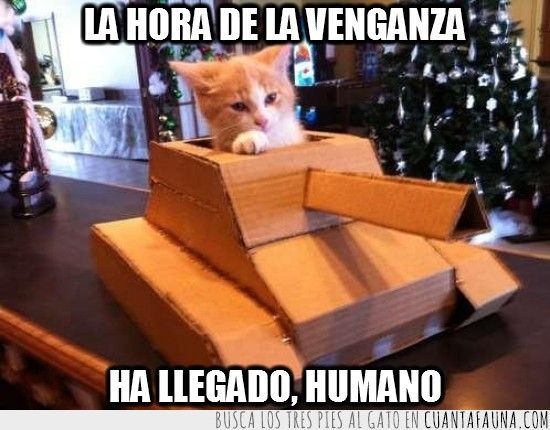 Carton,Gato,humano,Tanque,Venganza