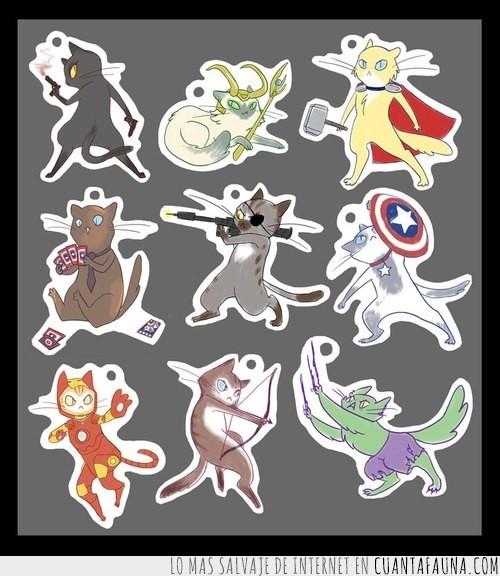 avengers,catvengers,cromos,gatos,hulk,pegatinas,stickers,thor,vengadores