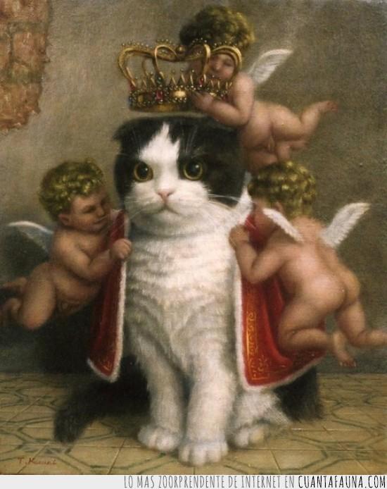 angeles,capa,corona,nuevo rey,oleo,pintura,querubines,rey