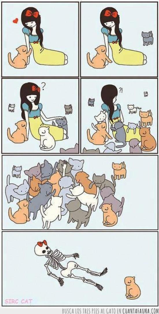 blancanieves,chica,comic,esqueleto,gatos
