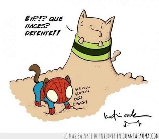 arena,comic,el hombre araña,el hombre de arena,gato,marvel,sandman,spidercat,spiderman