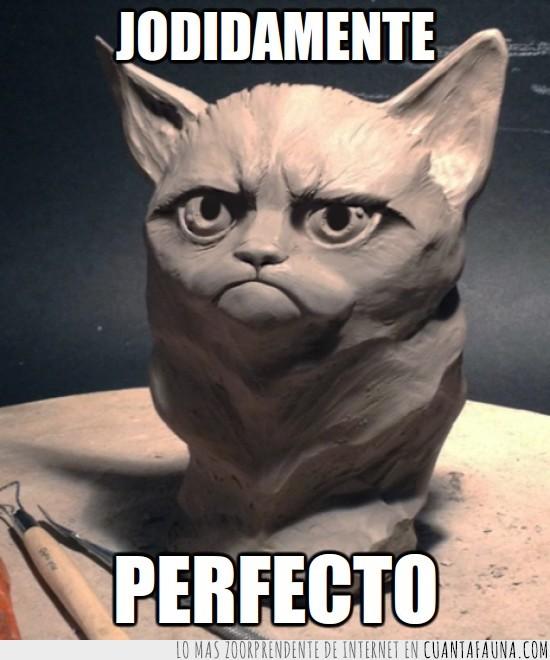 esculpido,escultura,gato gruñon,grumpy cat,madera,perfecto,tallado