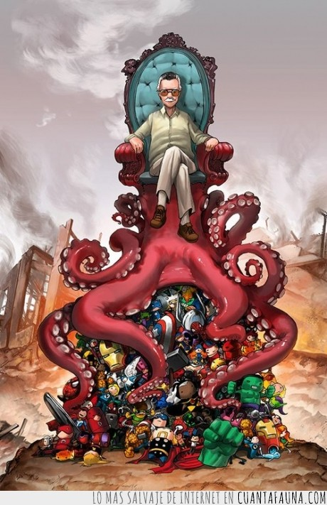 comic,heroe,Hulk,Iron-Man,Marvel,pulpo,Stan Lee,Thor,trono