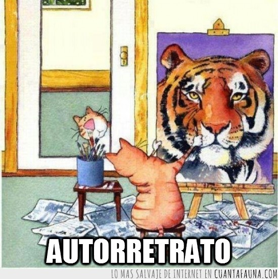 autorretrato,espejo,lienzo,pintar,pintor,pintura,tigre
