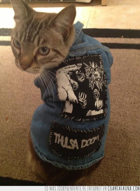 chaqueta,gato,metal,parches,tejana,thulsa doom
