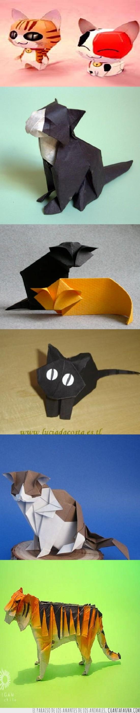 felinos,gatos,origami,papel,papiroflexia,tigre