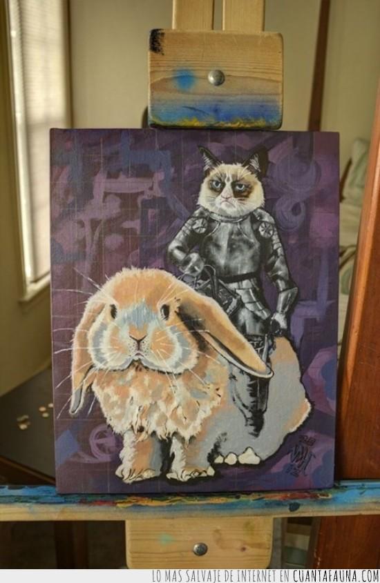 cuadro,gato,grumpy cat,oleo,pintura