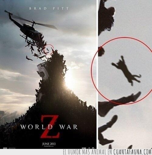 cartel,cine,famosos,gato,guerra,películas,world war z