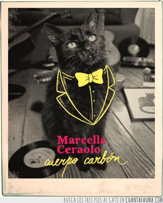 caratula,cuerpo carbon,dibujo,disco,estilo,gato,genial,marcella ceraolo,negro