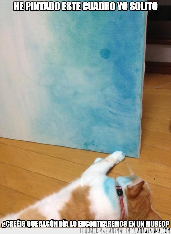 artista,cuadro,gato,pintar