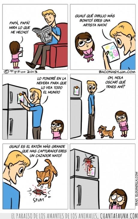gato,hija,logros,nevera,padre